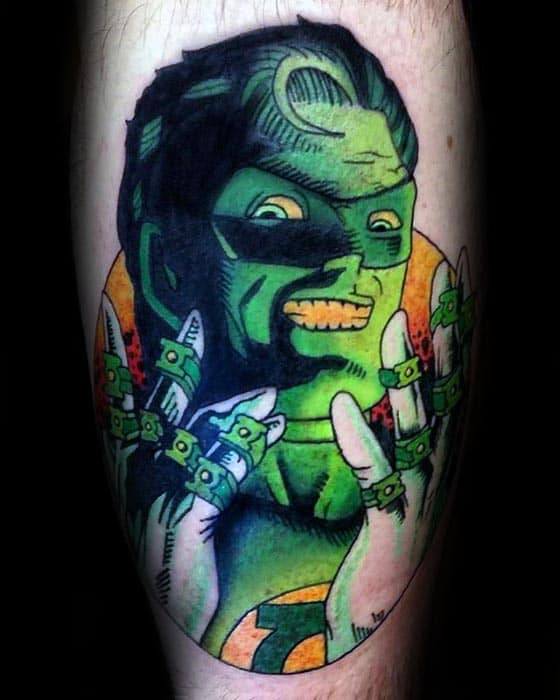 Mens Superhero Green Lantern Rings Tattoo On Leg