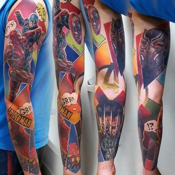 Mens Superhero Themed Full Arm Big Tattoo Sleeves