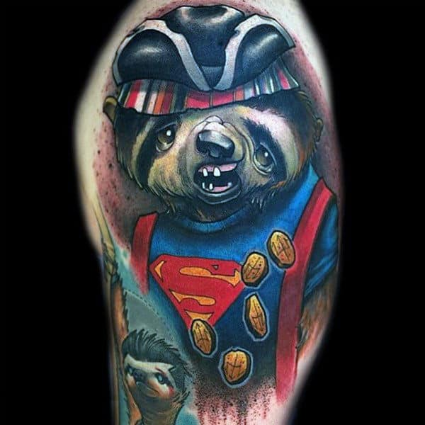 Mens Superman Sloth Upper Arm Tattoo Designs