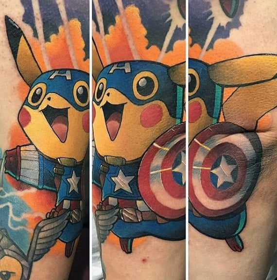 Mens Superman Themed Pikachu Pokemon Forearm Tattoo