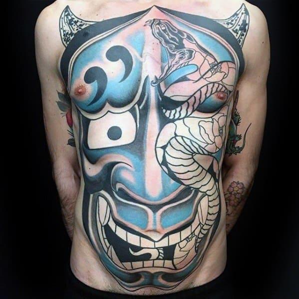 Mens Surrealism Japanese Snake Demon Chest Tattoo