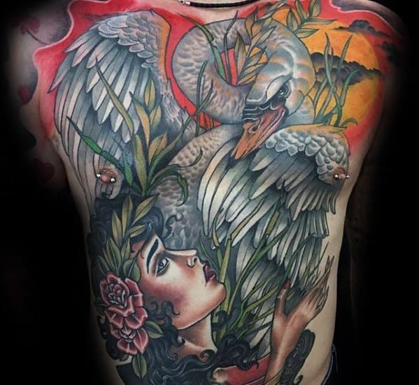 Mens Swan Full Back Tattoo Ideas