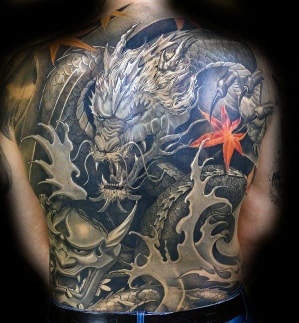 Mens Sweet Full Back Japanese Dragon Tattoo
