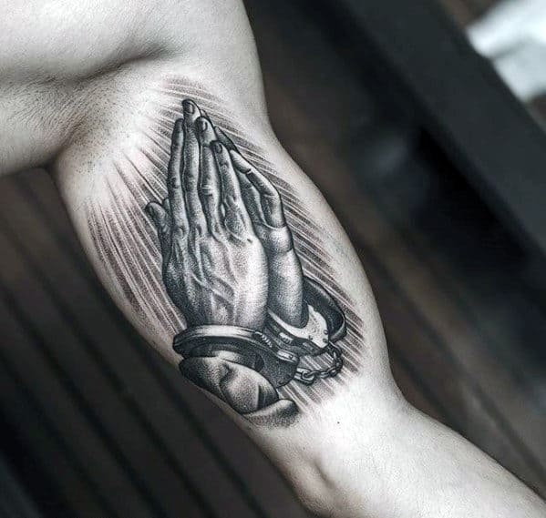 Mens Sweet Hands Praying Wth Handcuffs Tattoo On Bicep