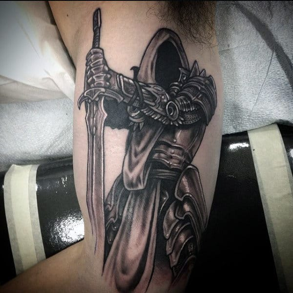 Mens Sword And Shield Tattoo On Bicep