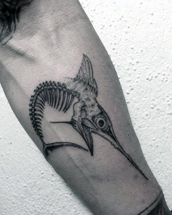 Mens Swordfish Bones Inner Forearm Tattoo Design Ideas