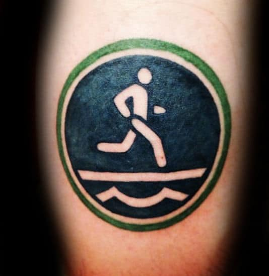 Mens Symbol Running Tattoo With Green Circle Design