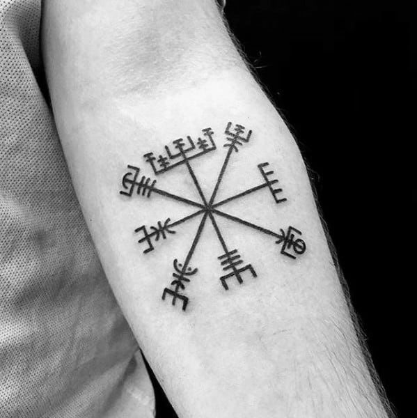 Mens Symbol Viking Compass Inner Forearm Tattoo