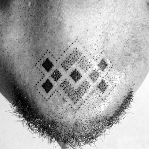 Mens Symbolic Endless Knot Chin Tattoo Design