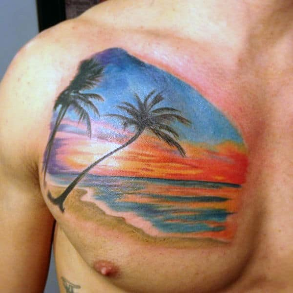 Mens Sytlish Sunset Chest Tattoo With Palm Trees And White Sand Beach