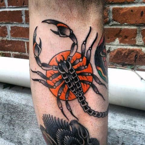 Mens Tangerine Scorpion Tattoo On Calf