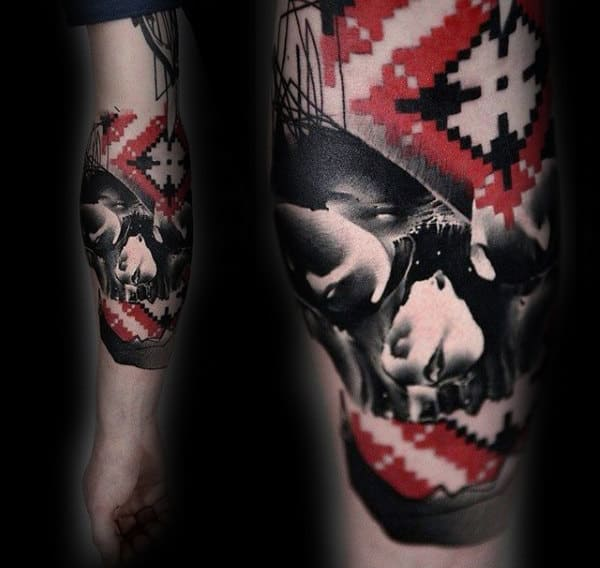 Mens Target Red Ink Skull Tattoo On Forearm