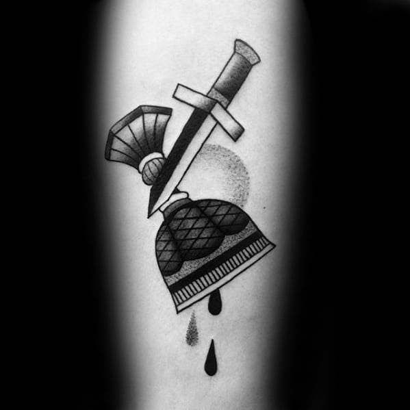 Mens Tarot Dagger With Cup Tattoo On Inner Forearm