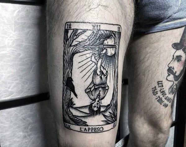 Mens Tarot Tattoo Design Ideas On Thighs