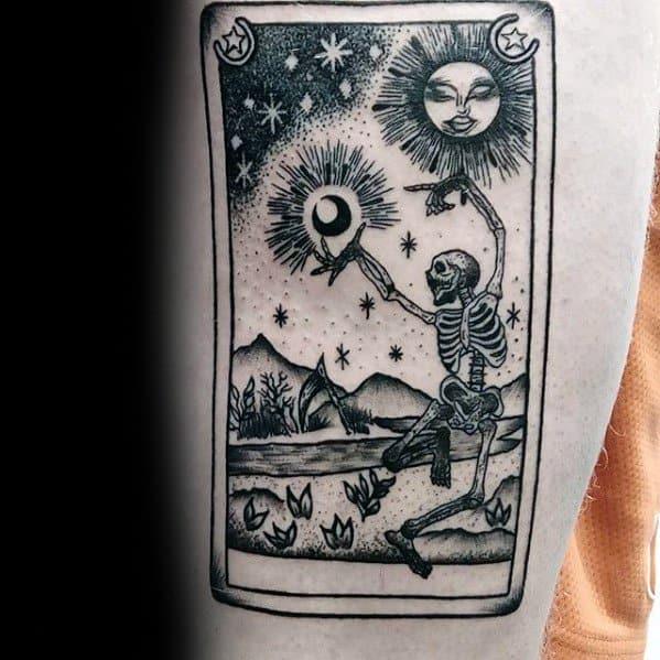 Mens Tarot Tattoo Design Inspiration On Thigh