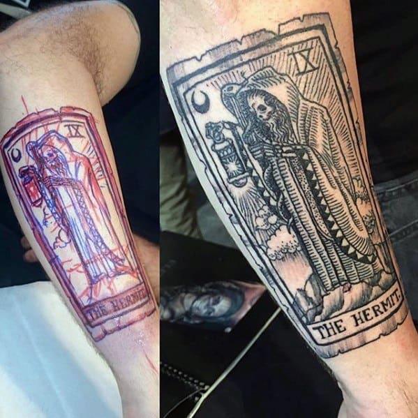 Mens Tarot Tattoo Ideas On Outer Forearm