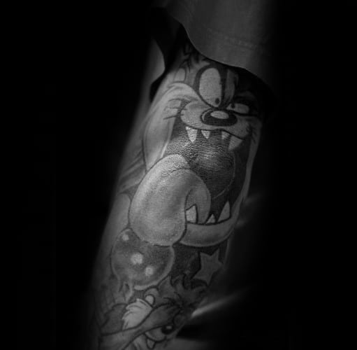 Mens Tasmanian Devil Tattoo Design Ideas Shaded Black And Grey Ink Elbow