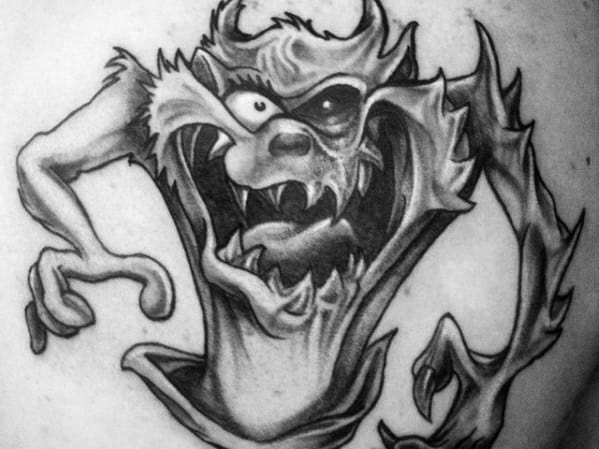 Mens Tasmanian Devil Tattoo Design Inspiration Upper Chest