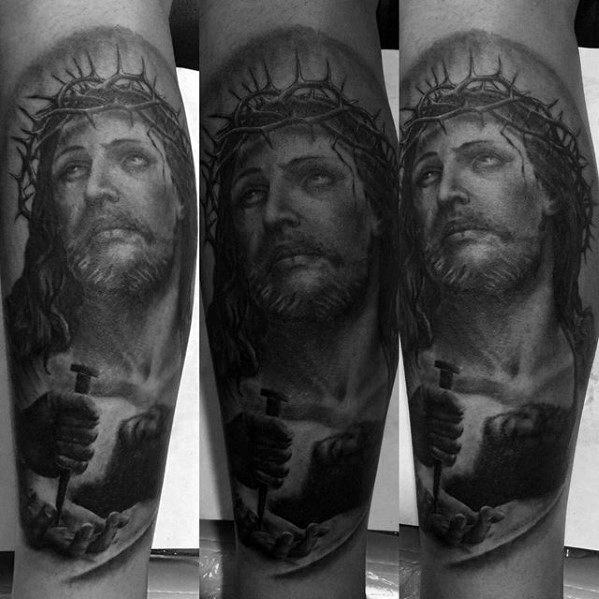 Mens Tattoo 3d Jesus Design
