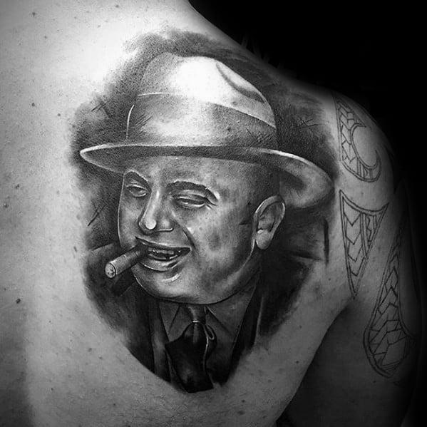 Mens Tattoo Al Capone Design On Upper Shoulder