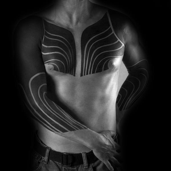Mens Tattoo Blackout Sleeve Design