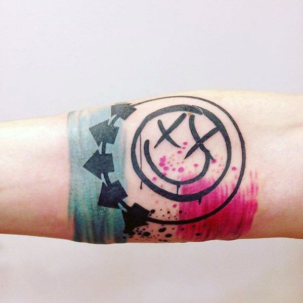 Mens Tattoo Blink 182 Design On Inner Forearm