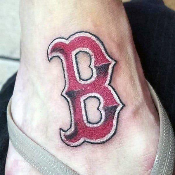 Mens Tattoo Boston Red Sox Design 3d Logo On Lower Leg