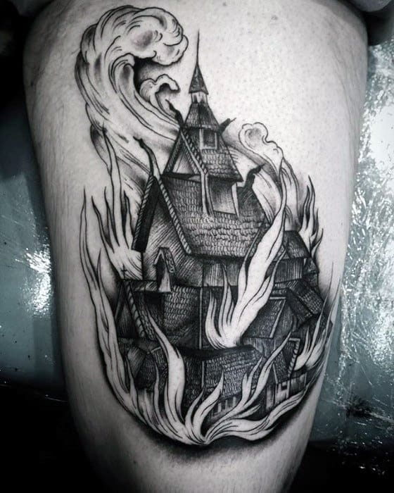 Mens Tattoo Burning Church Design