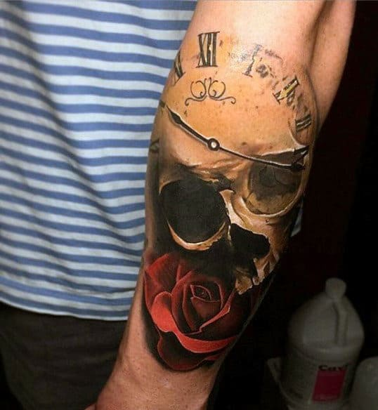 Skull And Rose Men's Tattoo Clock