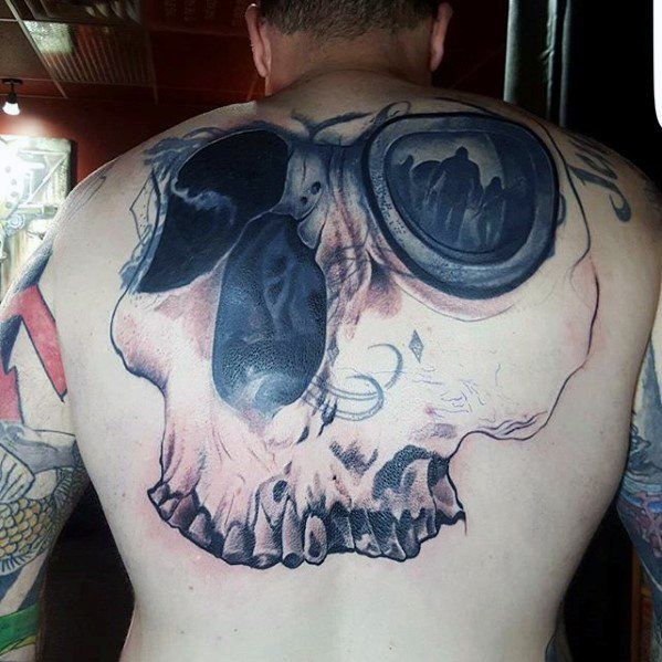 Mens Tattoo Cover Up Ideas On Back With Skull 3d Design