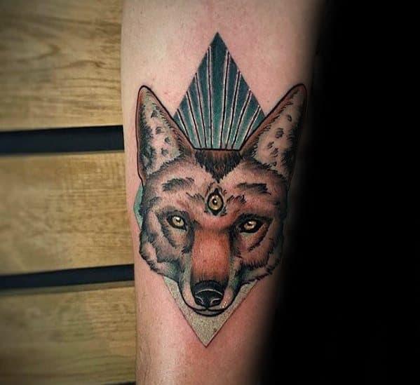 Mens Tattoo Coyote Design