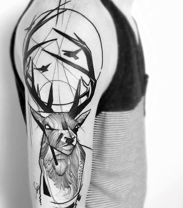 Mens Tattoo Deer Geometric Arm Design