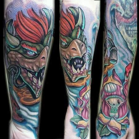 Mens Tattoo Designs Bowser Themed