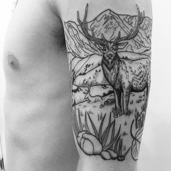 Mens Tattoo Designs Elk Themed