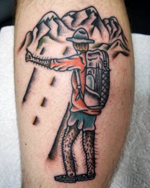 Mens Tattoo Designs Hiking Themed