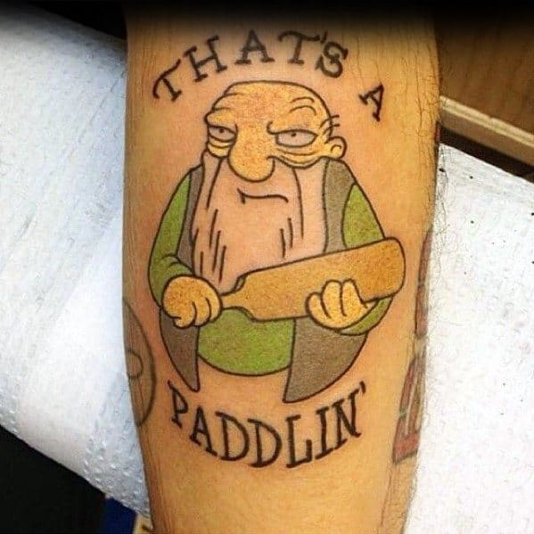 Mens Tattoo Designs Simpsons That Is A Paddling Themed