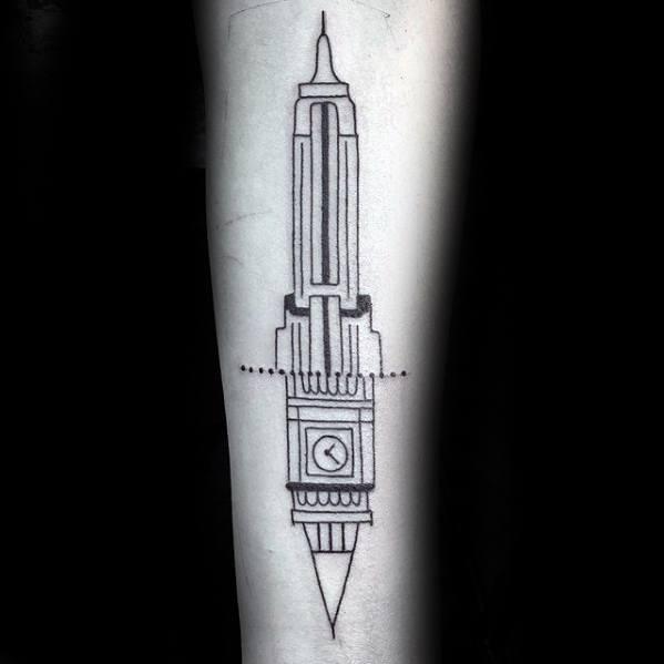 Mens Tattoo Geometric Big Ben Design
