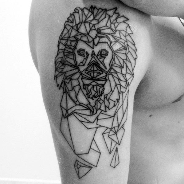 Mens Tattoo Geometric Lion Design On Arm