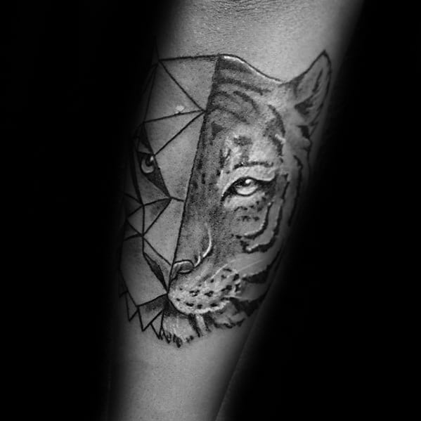Mens Tattoo Geometric Tiger Design
