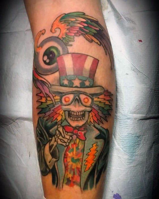 Mens Tattoo Grateful Dead Design On Leg