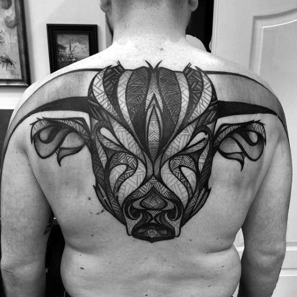 Mens Tattoo Great Bull Head Design On Upper Back