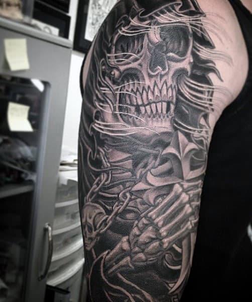 Men's Tattoo Grim Reaper