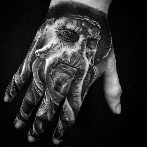 Mens Tattoo Hand Davy Jones Design