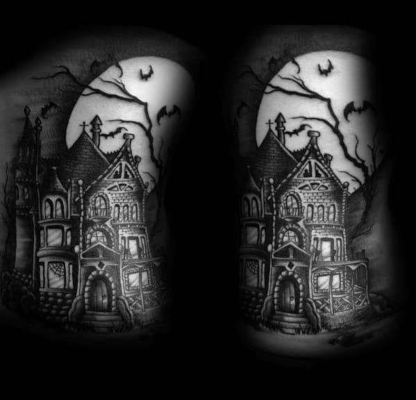 Mens Tattoo Haunted House Design