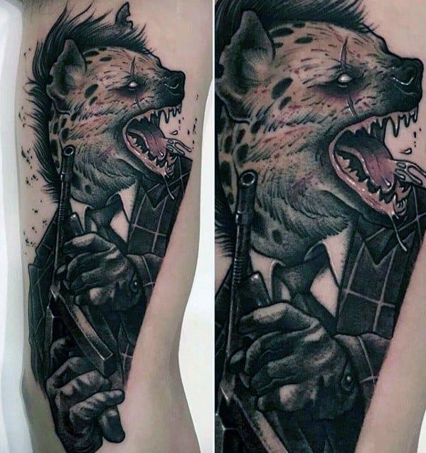 Mens Tattoo Hyena Design