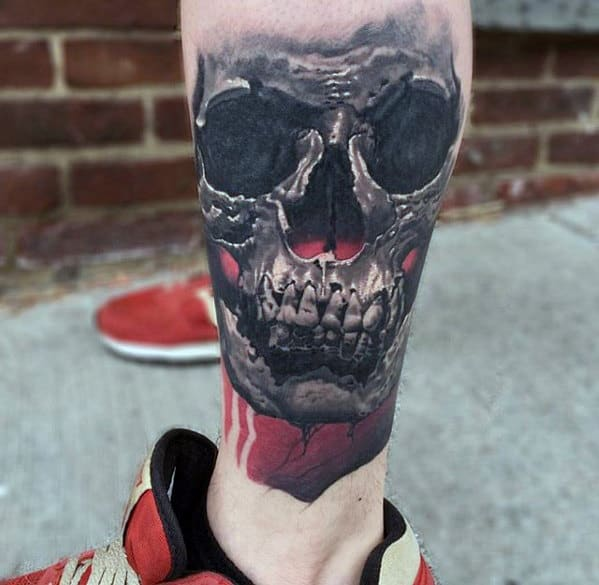 Mens Tattoo Ideas Great 3d Skull Design On Leg