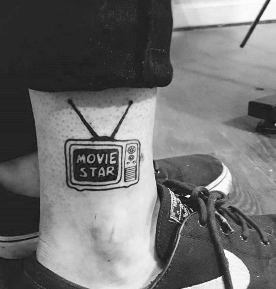 Mens Tattoo Ideas With Ankle Movie Star Tv Box Design
