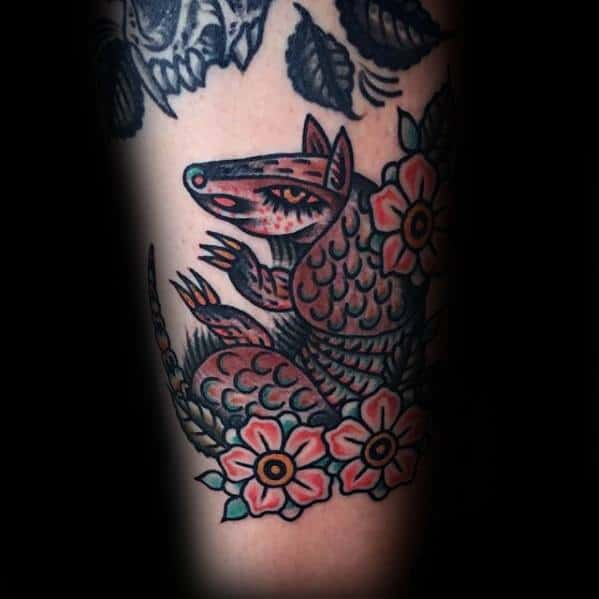Mens Tattoo Ideas With Armadillo Floral Design On Arm