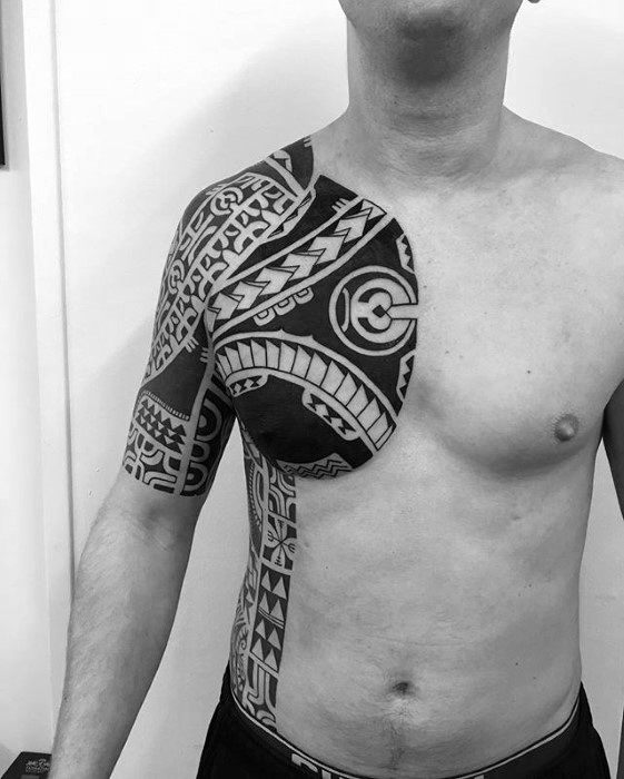 Mens Tattoo Ideas With Awesome Half Sleeve Chest Tribal Design