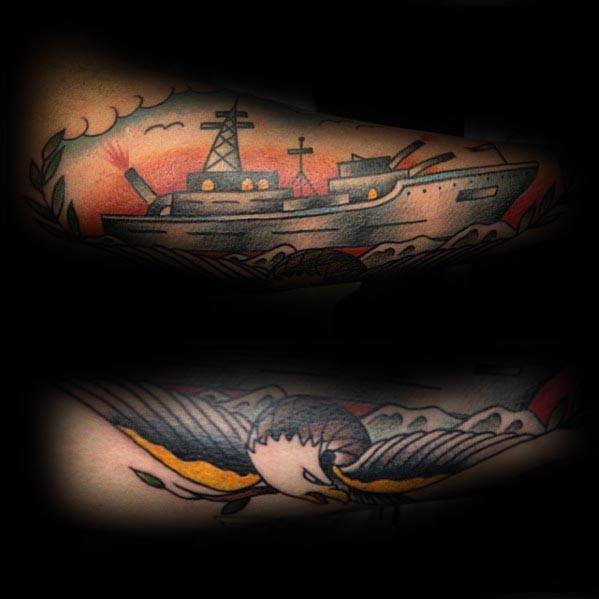 Mens Tattoo Ideas With Battleship Design On Forear